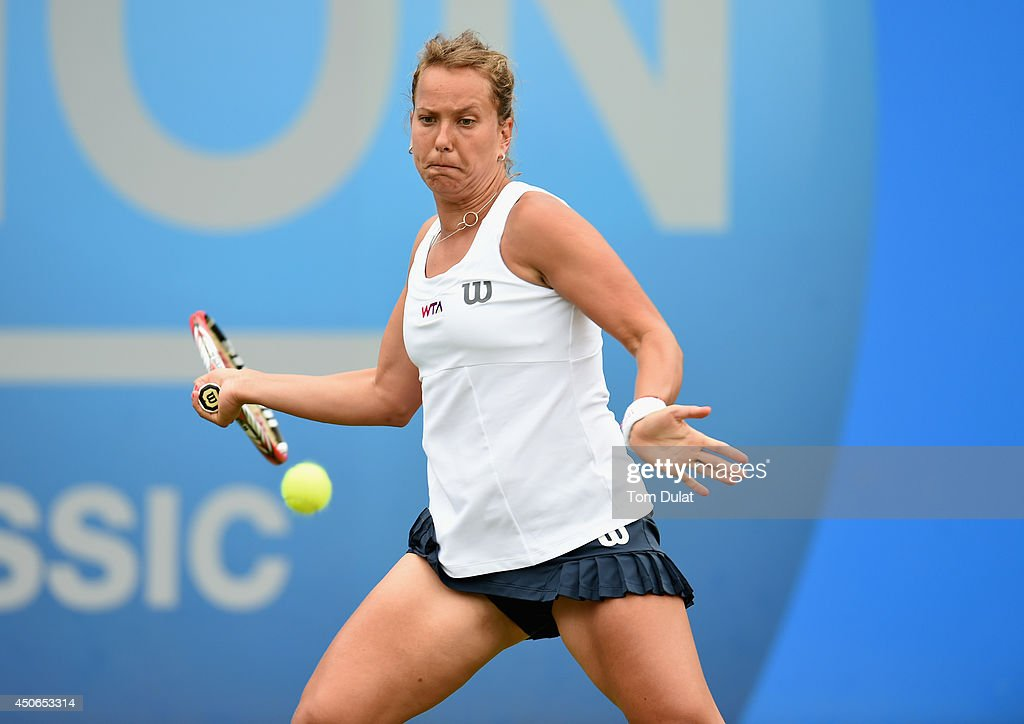 Barbora Zahlavova Strycova of Czech Republic in action during the Singles Final during Day Seven of the Aegon Classic at Edgbaston Priory Club on June 15, 2014 in Birmingham, England.