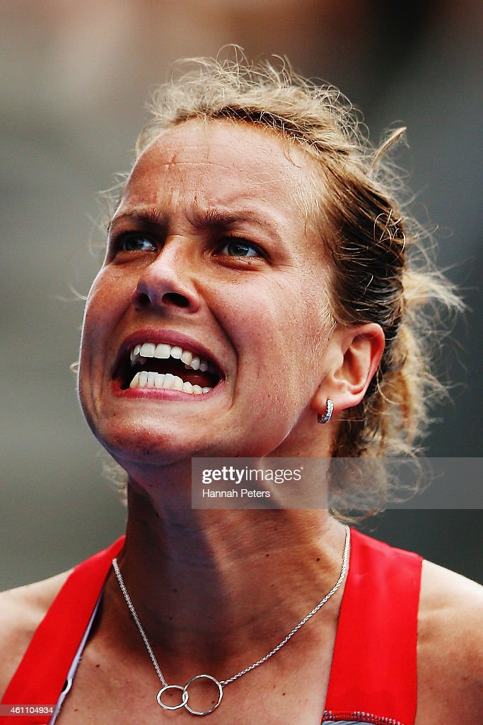 Barbora Zahlavova Strycova of Czech Republic reacts after losing a game during her match against Marina Erakovic of New Zealand during day three of...