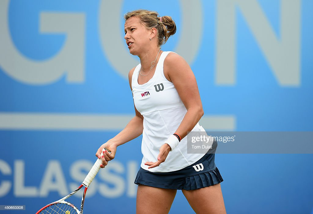 Barbora Zahlavova Strycova of Czech Republic reacts during the Singles Final during Day Seven of the Aegon Classic at Edgbaston Priory Club on June 15, 2014 in Birmingham, England.