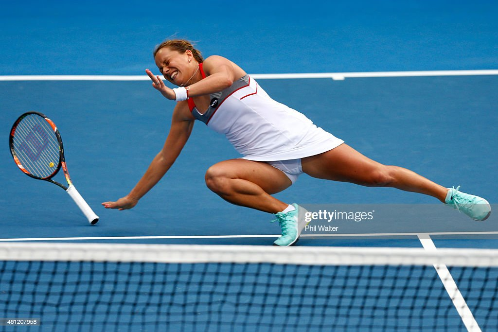 Barbora Zahlavova Strycova of the Czech Republic falls over during her semifinal match against Caroline Wozniacki of Denmark during day five of the...