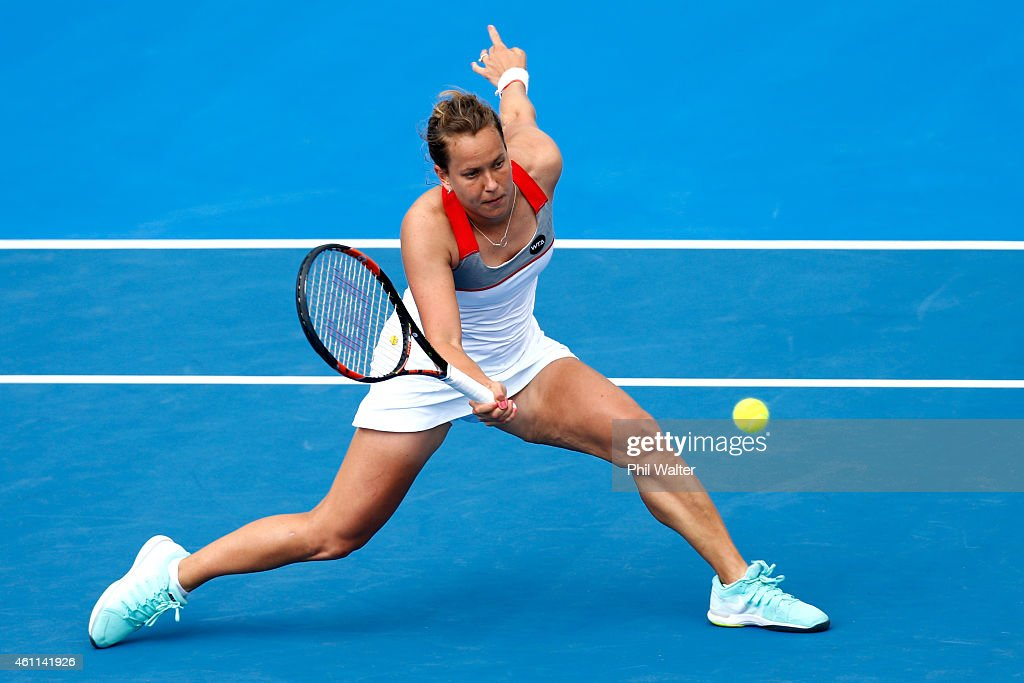 Barbora Zahlavova Strycova of the Czech Republic plays a forehand in her quarterfinal match against CoCo Vandeweghe of the USA during day four of the...