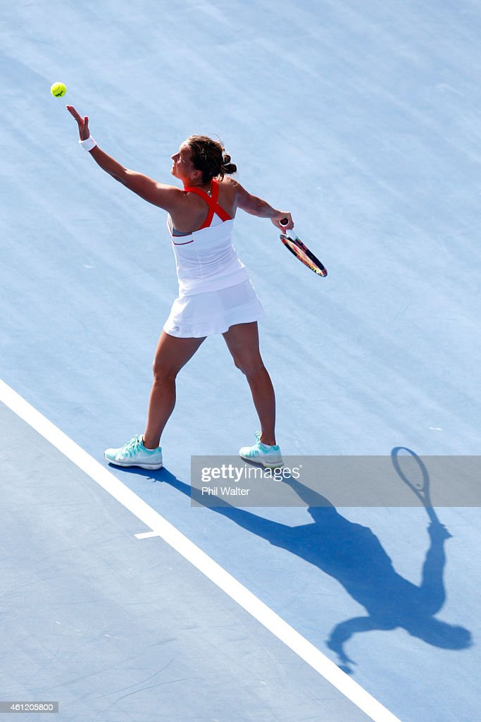 Barbora Zahlavova Strycova of the Czech Republic serves during her semifinal match against Caroline Wozniacki of Denmark during day five of the 2015...