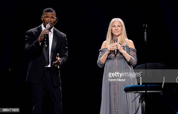 Barbra Streisand and Jamie Foxx perform onstage during the tour opener for 'Barbra The Music The Mem'ries The Magic' at Staples Center on August 2...