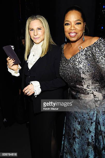 Barbra Streisand and Oprah Winfrey attend the 70th Annual Tony Awards at The Beacon Theatre on June 12 2016 in New York City