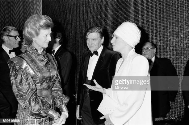 Barbra Streisand attends the Royal Charity Premiere of Yentl at the Leicester Square Theatre while she meets Princess Alexandra 29th March 1984
