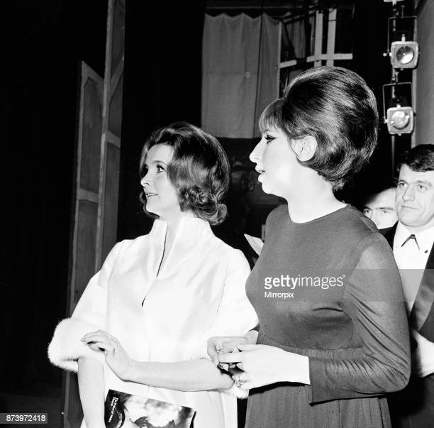 Barbra Streisand Champagne reception after West End premiere of Funny Girl Prince of Wales Theatre London 13th April 1966 Pictured with Millicent...
