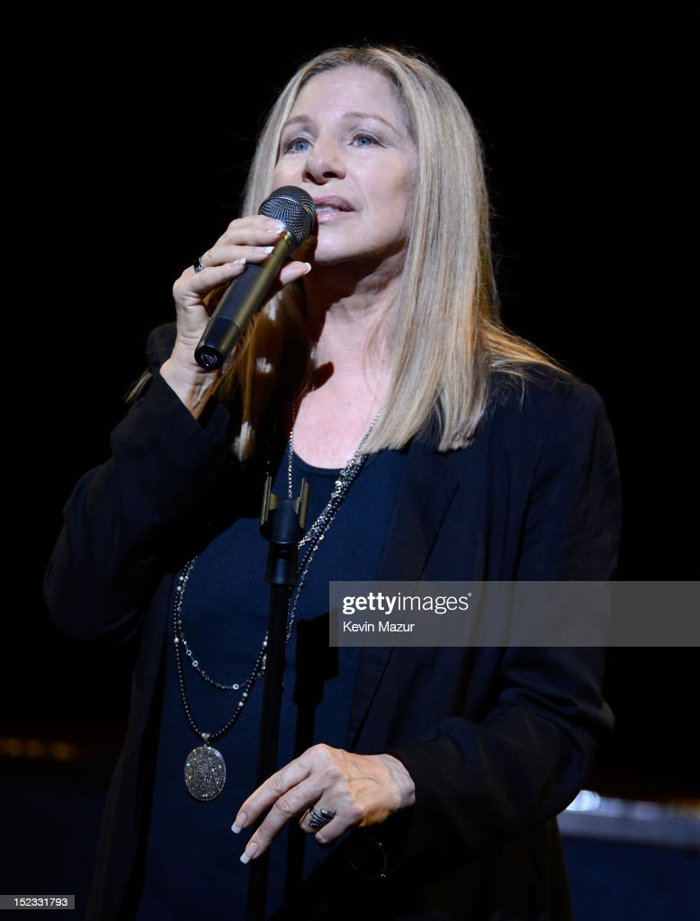 Barbra Streisand performs on stage at the memorial of Marvin Hamlisch at Peter Jay Sharp Theater on September 18, 2012 in New York City.