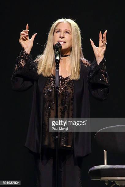 Barbra Streisand performs onstage during her 'Barbra The Music The Mem'ries The Magic' tour at Verizon Center on August 18 2016 in Washington DC