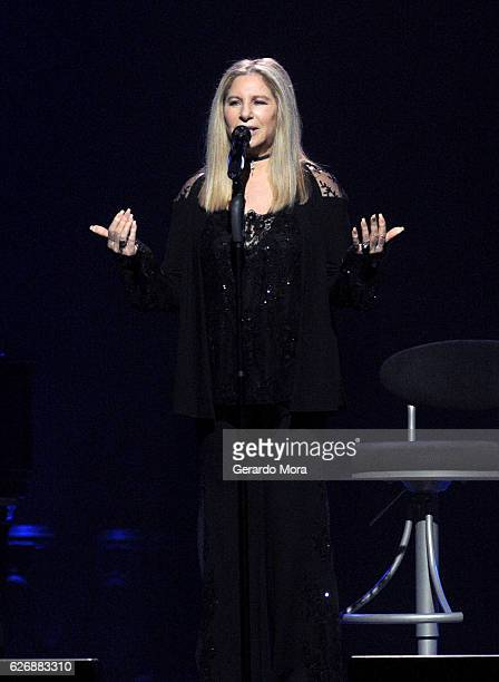 Barbra Streisand performs onstage during the Barbra The Music The Mem'ries The Magic Tour at Amalie Arena on November 30 2016 in Tampa Florida