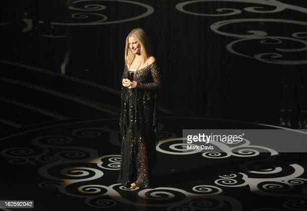 Barbra Streisand performs onstage during the Oscars held at the Dolby Theatre on February 24 2013 in Hollywood California