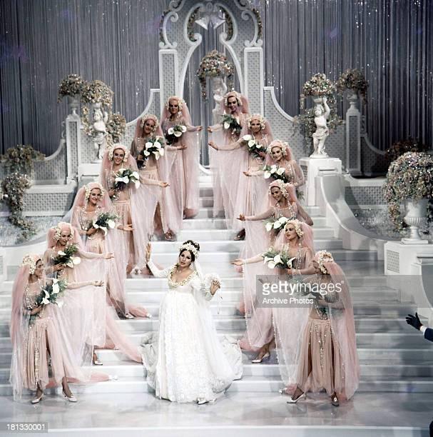 Barbra Streisand sings in a wedding dress in a scene from the film 'Funny Girl' 1968