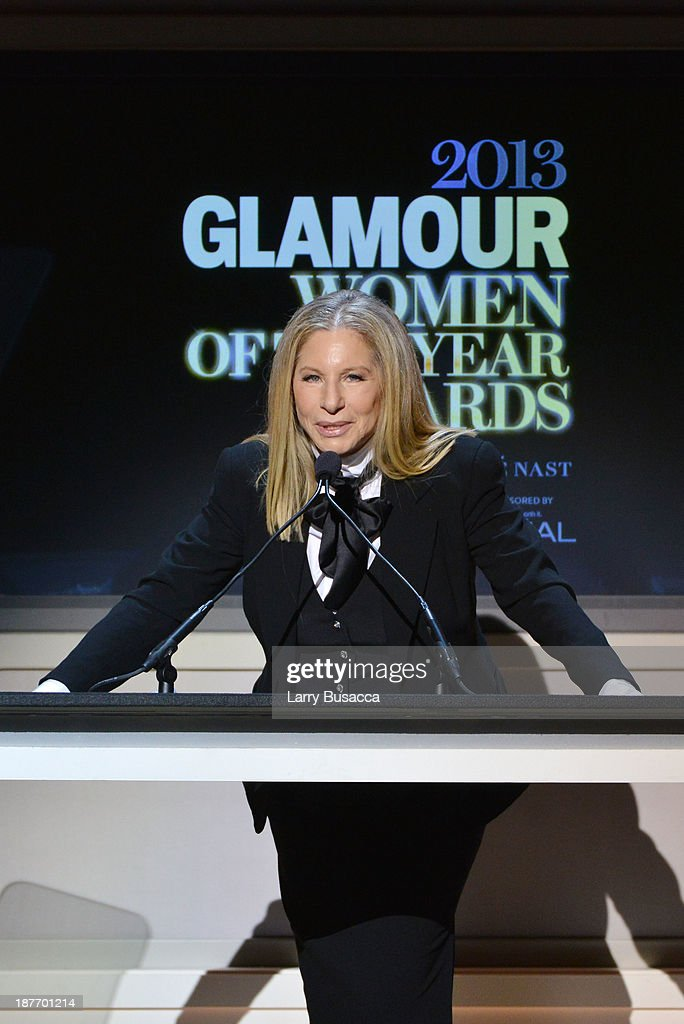 <a gi-track='captionPersonalityLinkClicked' href=/galleries/search?phrase=Barbra+Streisand&family=editorial&specificpeople=200745 ng-click='$event.stopPropagation()'>Barbra Streisand</a> speaks onstage at Glamour's 23rd annual Women of the Year awards on November 11, 2013 in New York City.