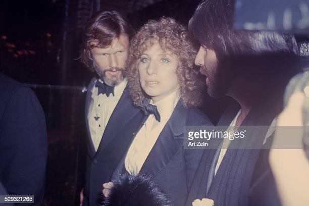Barbra Streisand with Kris Kristofferson at a formal event closeup circa 1970 New York