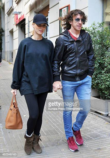 Barca football player Carles Puyol and Vanessa Lorenzo are seen on November 15 2013 in Barcelona Spain