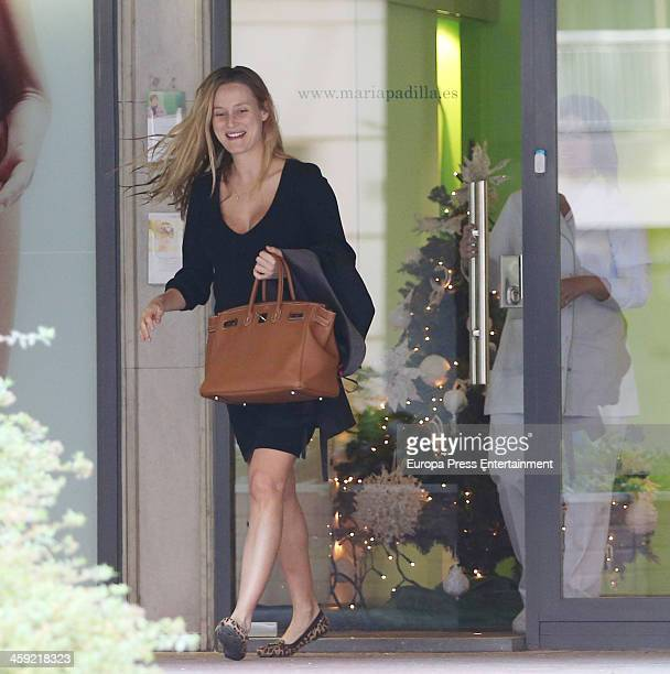 Barca football player Carles Puyol's girlfriend Vanessa Lorenzo is seen on December 24 2013 in Barcelona Spain