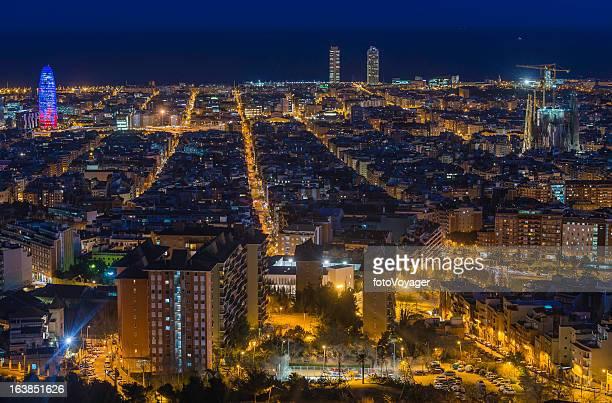 Barcelona aerial night cityscape Torre Agbar Sagrada Familia Spain
