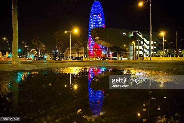 Barcelona Agbar tower illuminated at night