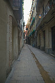 A narrow deserted alley in Barcelona