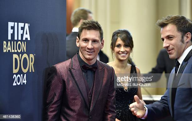 Barcelona and Argentina forward Lionel Messi and his wife Argentinian model Antonella Roccuzzo arrive as Italian former football player Alessandro...