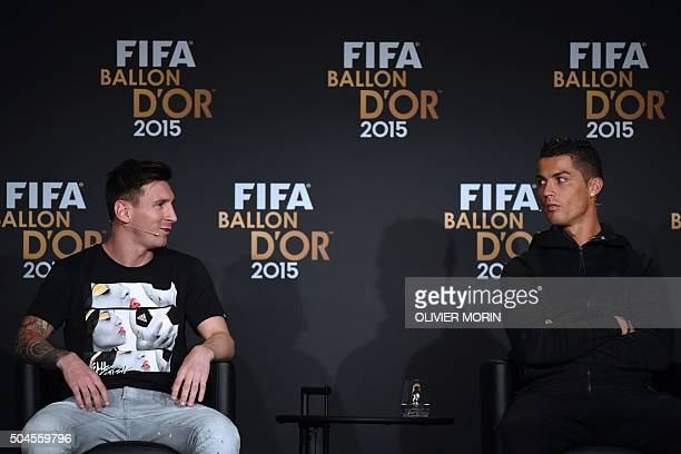FC Barcelona and Argentina's forward Lionel Messi and Real Madrid and Portugal's forward Cristiano Ronaldo give a press conference ahead of the 2015...