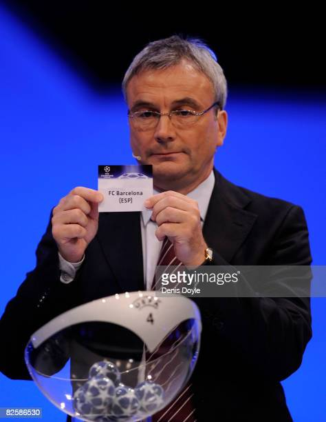 C Barcelona are drawn in group C during the UEFA Champions League Draw for the 2008/2009 season at the Grimaldi Center on August 28 2008 in Monte...