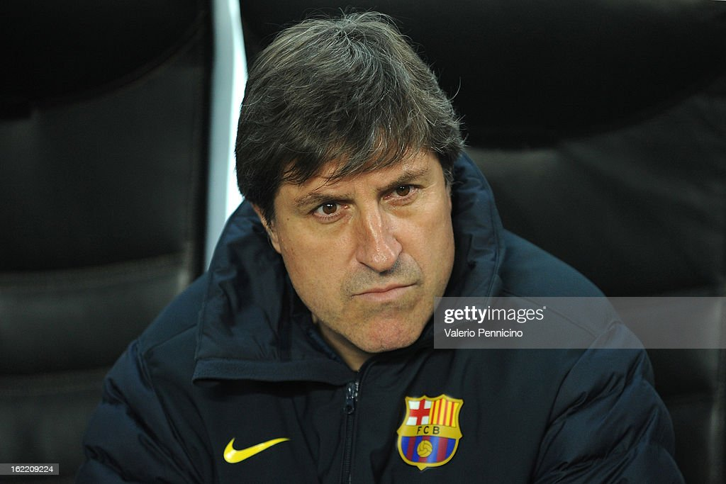 Barcelona assistant coach Jordi Roura looks on prior to the UEFA Champions League Round of 16 first leg match between AC Milan and Barcelona at San Siro Stadium on February 20, 2013 in Milan, Italy.