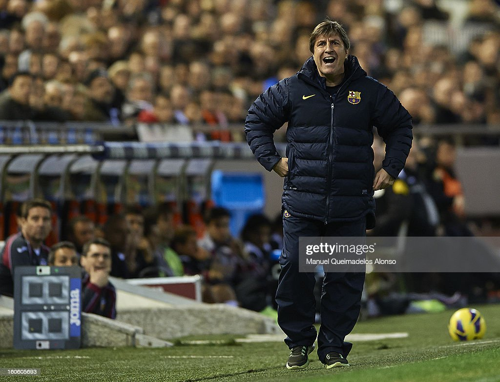 FC Barcelona assistant coach Jordi Roura reacts during the La Liga match between Valencia and Barcelona Estadio Mestalla on February 3, 2013 in Valencia, Spain.