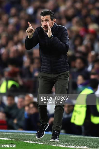 Barcelona Assistant Manager Juan Carlos Unzue issues instructions during the UEFA Champions League Quarter Final second leg match between FC...