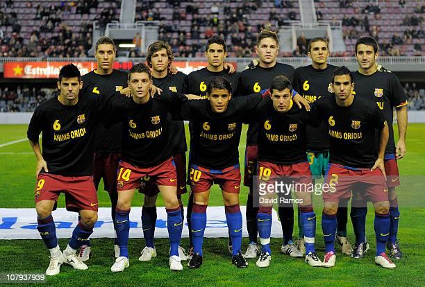 Barcelona B players pose prior the La Liga Adelante match between FC Barcelona B and Girona at Mini Estadi on January 8 2011 in Barcelona Spain