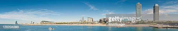 Barcelona beach waterfront promenade panorama Barceloneta Ciutat Vella Catalonia Spain