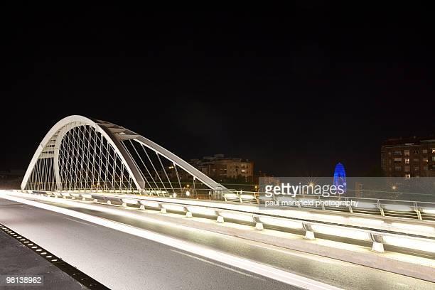 Barcelona bridge at night