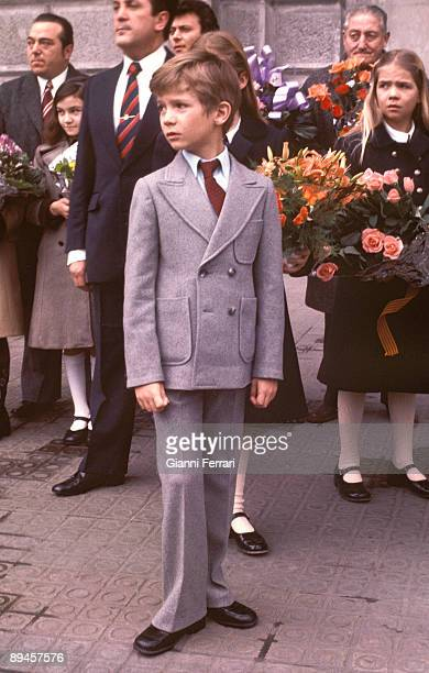 1976 Barcelona Catalonia Spain The prince Felipe and the Infanta Cristina during a official visit to Barcelona