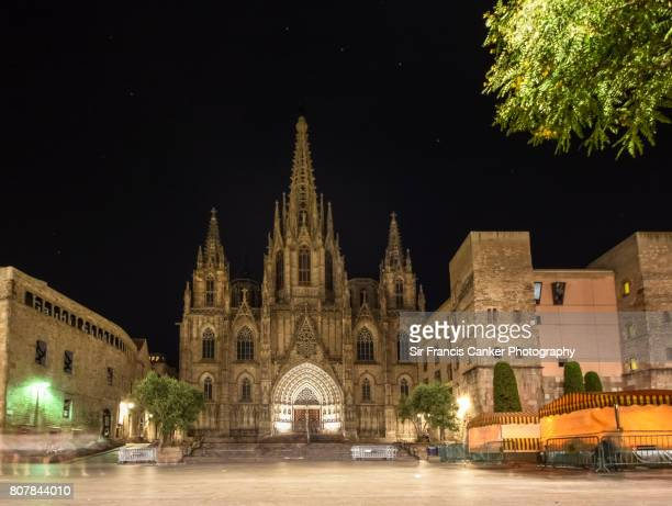 Barcelona cathedral facade illuminated at night with no people, Catalonia, Spain