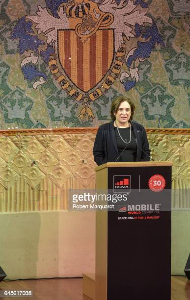 Barcelona city Mayor Ada Colau attends the official dinner of the Mobile World Congress 2017 at Palau de la Musica on February 26 2017 in Barcelona...