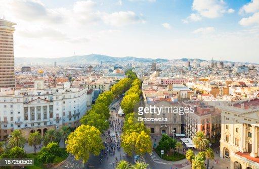 Barcelona cityscape with La Rambla