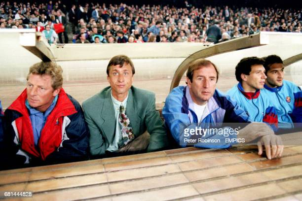 Barcelona Coach Johan Cruyff on the bench which has a hinged roof