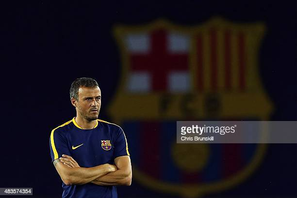 Barcelona coach Luis Enrique looks on during a training session ahead of the UEFA Super Cup match between Barcelona and Sevilla FC at Dinamo Stadium...