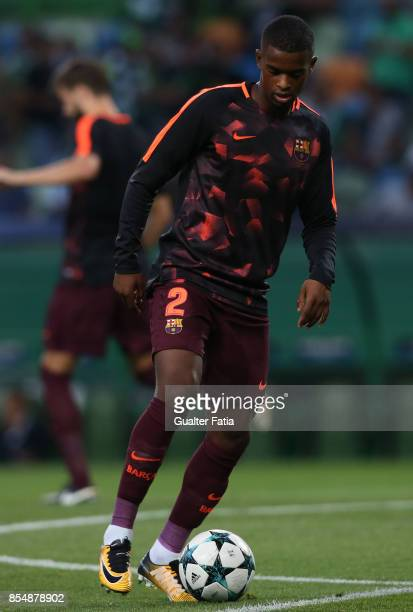 Barcelona defender Nelson Semedo from Portugal in action during warm up before the start of the UEFA Champions League match between Sporting Clube de...