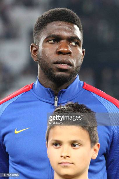 Barcelona defender Samuel Umtiti poses in order to be photographed before the Uefa Champions League quarter finals football match JUVENTUS BARCELONA...