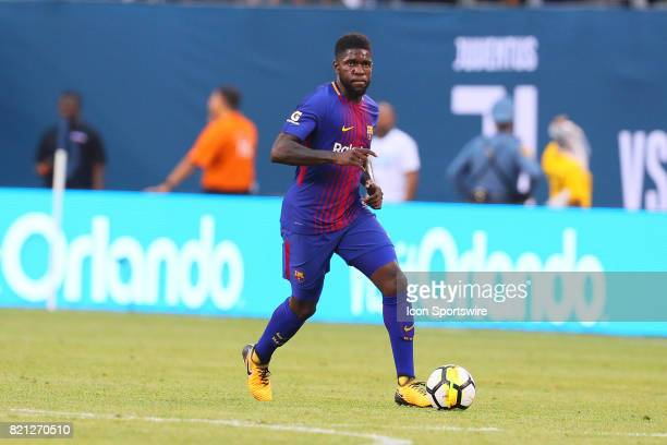 Barcelona defender Umtiti 23 during the first half of the International Champions Cup soccer game between Barcelona and Juventus on July 22 at Met...