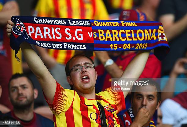 Barcelona fan soak up the prematch atmosphere during the UEFA Champions League Quarter Final First Leg match between Paris SaintGermain and FC...