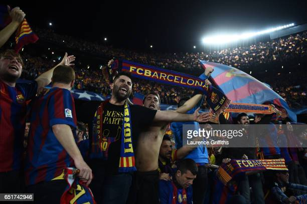 Barcelona fans celebrate victory after the UEFA Champions League Round of 16 second leg match between FC Barcelona and Paris SaintGermain at Camp Nou...