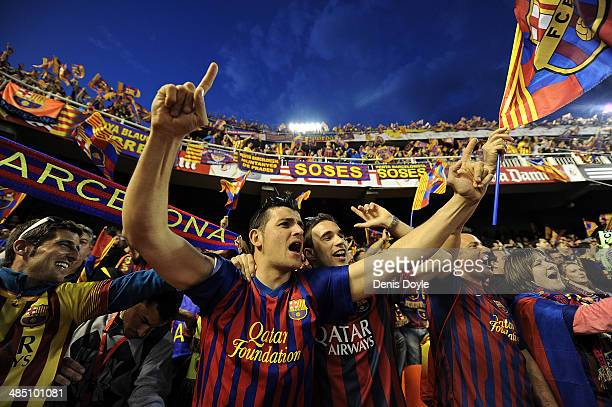 Barcelona fans cheer their team during warmup ahead of the Copa del Rey Final between Real Madrid and Barcelona at Estadio Mestalla on April 16 2014...