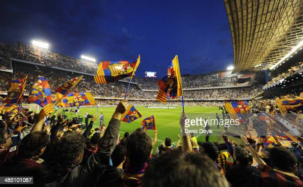 Barcelona fans cheers their team during warmup ahead of the Copa del Rey Final between Real Madrid and Barcelona at Estadio Mestalla on April 16 2014...