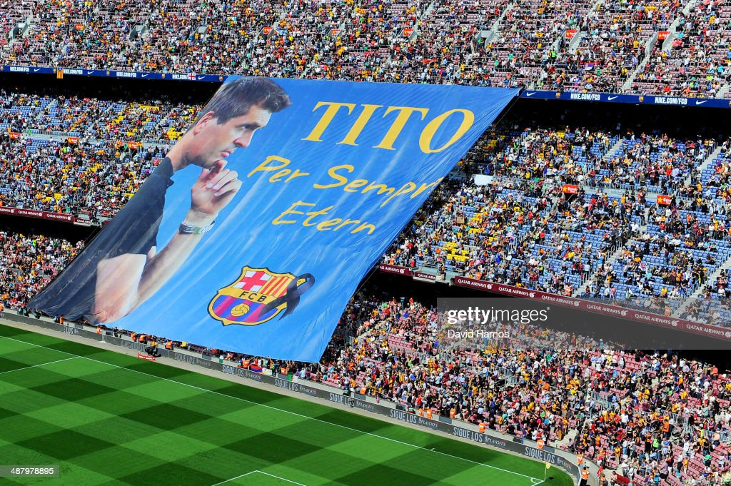 FC Barcelona fans display a huge banner in memory of former FC Barcelona head coach Tito Vilanova prior to the La Liga match between FC Barcelona and Getafe CF at Nou Camp on May 3, 2014 in Barcelona, Spain.