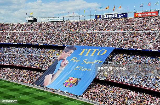 Barcelona fans display a huge banner in memory of former FC Barcelona head coach Tito Vilanova prior to the La Liga match between FC Barcelona and...