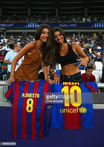 Barcelona fans pose prior to the UEFA Super Cup between Barcelona and Sevilla FC at Dinamo Arena on August 11 2015 in Tbilisi Georgia