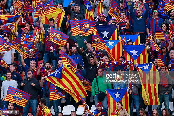 Barcelona fans show Estelada flags prior to start the Copa del Rey Final match between FC Barcelona and Sevilla FC at Vicente Calderon Stadium on May...