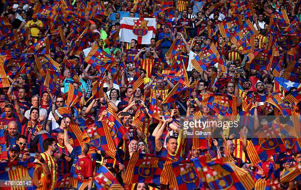 Barcelona fans show support for their team prior to the UEFA Champions League Final between Juventus and FC Barcelona at Olympiastadion on June 6...