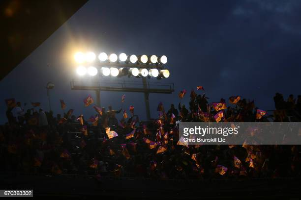 Barcelona fans show their support during the UEFA Champions League Quarter Final second leg match between FC Barcelona and Juventus at Camp Nou on...